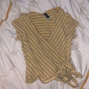 Windsor yellow strip knit tie wrap crop trop